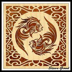 fretwork fish circle