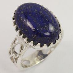 Hot Fashion Ring Size US 7.75 Natural LAPIS LAZULI Gemstone 925 Sterling Silver #Unbranded