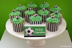 Green icing for Soccer Theme cupcakes Soccer Birthday Parties, Soccer Party, Birthday Party Themes, Birthday Ideas, Birthday Diy, Football Soccer, Soccer Ball, Cupcake Party, Cupcake Cakes
