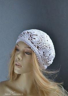 Crochet  summer women's hat beret white by NataliaYakimenko