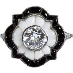 Pre-owned Old European  Cut Diamond Black and White Onyx Ring ($6,750) ❤ liked on Polyvore featuring jewelry, rings, engagement rings, antique engagement rings, black onyx ring, antique diamond ring and womens jewellery