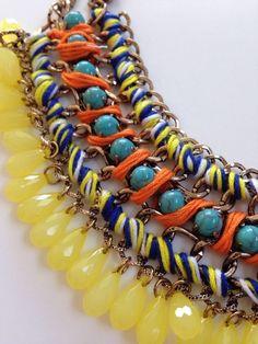 Zara Boho Yellow Blue Bead Statement Necklace chunky hippy choker ladies | eBay