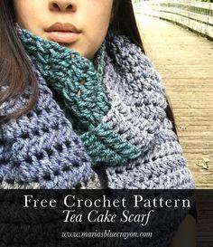 Tea Cake Scarf - Free Crochet Pattern and video at Maria's Blue Crayon. Caron Cake Crochet Patterns, Caron Cakes Crochet, Crochet Patterns For Beginners, Knitting Patterns, Knitting Tutorials, Amigurumi Patterns, Crochet Scarves, Crochet Shawl, Free Crochet