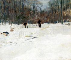 """""""Les coupeurs de glace"""", huile sur toile de Julian Alden Weir (1852-1919, United States)"""