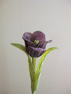 French beaded flower dark purple tulip