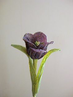 French beaded flower Queen of Night tulip by upzndowns on Etsy, $48.00
