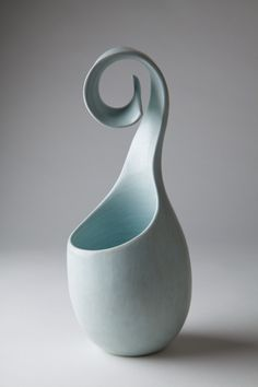 'Turquoise Curl' - pottery by Tina Vlassopulos