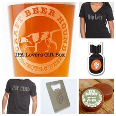 A gift box that includes a Craft Beer Hound pint glass, choice of hop head or hop lady tee, hop sticker, hop bottle opener and IPA soap
