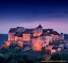 Burghausen, Upper Bavaria, Germany... www.castlesandmanorhouses.com ... Burghausen Castle is the longest castle complex in Europe (1,043 m). The Gothic castle comprises the main castle with an inner courtyard and five outer courtyards. The outermost point of the main castle is the Palas with the ducal private rooms. Today it houses the castle museum, including late Gothic paintings of the Bavarian State Picture Collection.