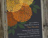 Autumn Fall Dahlias Printable Bridal Shower Invitation