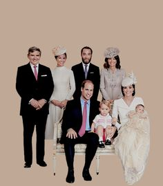 The Cambridges and the Middletons at the christening of Charlotte