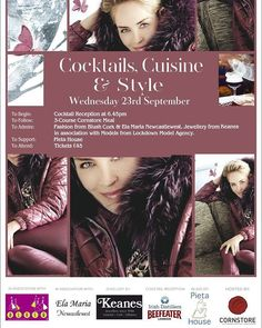 We are looking forward to this coming Wednesday in the Cornstore Cork for Cocktails, Cuisine & Style in aid of Pieta House, Preventing Suicide and Self Harm with Blush Cork Ela Maria and Keanes Jewellers. This will be a fantastic night in aid of a fantastic charity. See you all there! Model Agency, Cork, Charity, Wednesday, Cocktails, Blush, Jewelry Making, Jewellery, Night