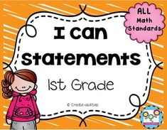 This set contains 87 pages of I can statements in kid-friendly language. There are I can's that cover ALL the standards in the 1st grade Common Core curriculum. There are also 6 pages of standards checklists to help you ensure you have covered every standard.