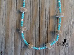 Simple Turquoise Deer Antler Necklace by TineDesignsByMindi