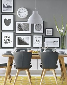 Best Grey Kitchen Walls Ideas On Light Gray Honey Maple Dark-gray dining room decorating ideas grey - Dining Room Decor Grey Kitchen Walls, Dining Room Walls, Dining Room Design, Gray Walls, Kitchen White, Black And White Dining Room, Room Chairs, Dining Table Rug, Pictures For Kitchen Walls