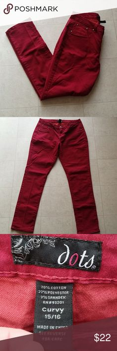 Women's Dots Red Maroon Curvy Jeans Good pre-owned condition. Dots Jeans