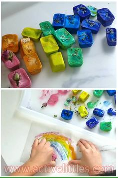 Looking for a fun sensory play ideas for some fun indoor activities this winter? Try these ice activities! Kids Activities At Home, Indoor Activities For Kids, Winter Activities, Preschool Activities, Crafts For Kids, Kids Diy, Motor Activities, Diy Crafts, Sensory Bins