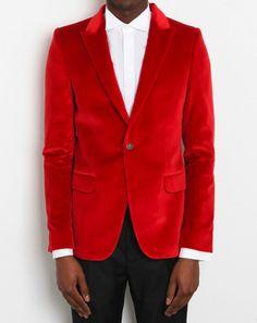 Alexander McQueen Red Velvet Jacket