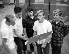 The Beach Boys in the studio, 1962. OMG Look how young they were starting out.