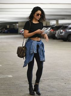 crop top, black jeans, boots, bag, sunglasses
