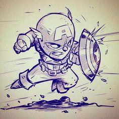 Chibi Cap! by DerekLaufman on DeviantArt - Captain America °°