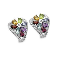 3.19 Carat Genuine Multi Stone .925 Sterling Silver Earrings