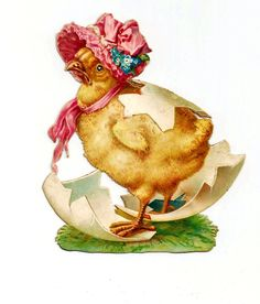 Vintage EASTER Egg Shell Baby Chick with Pink Bonnet - Victorian Album Die-cut SCRAP - Glossy Embossed...