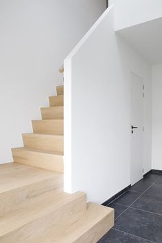Renewal # and # an # expansion # of # a # family house # in # Maria-Aalter # – # Portfolio # – # Expro # – # Interior Architect # Jososien # Maes Wood Stairs, House Stairs, Stair Railing, Banisters, Railings, Interior Stairs, Interior Architecture, Escalier Design, Modern Stairs