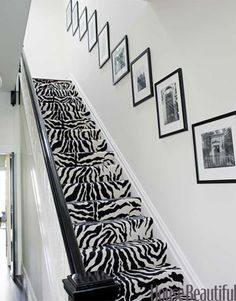 Stairs are carpeted in Stark Zebra Cut. Design: Ken Fulk.