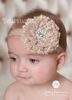 Baby HeadbandNewborn Headband Lace Baby Headband by ThinkPinkBows, $9.95