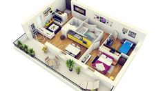 50 Two Bedroom House/Apartment Plans