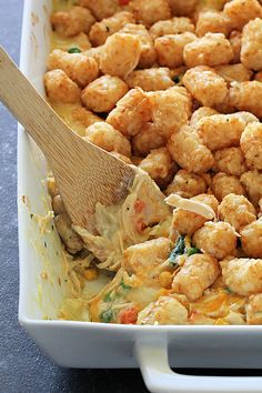 Tater Tot Chicken Pot Pie Casserole Recipe Chicken Pot Pie Casserole, Casserole Recipes, Casserole Dishes, Recipe Using Chicken Breasts, One Pot Meals, Main Dishes, Chicken Recipes, Casseroles, Dinner Ideas