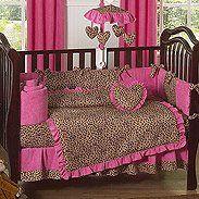 Leopard Print Baby Shower | Animal Safari Ivory and Black Leopard Print 9 Piece Crib Bedding Set        ree    OMG