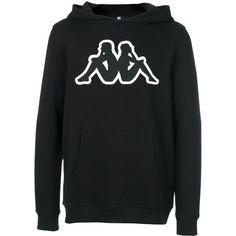 Kappa branded hoodie ($119) ❤ liked on Polyvore featuring men's fashion, men's clothing, men's hoodies, black, mens hoodies and mens sweatshirt hoodies