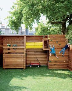 idée originale espace de jeux aire de jeux enfants jardin bois cabane toboggan