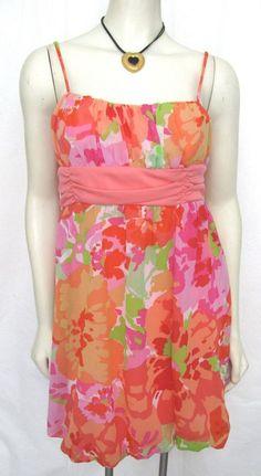 NWT BCX  Pink Orange Floral Dress Juniors 9 Chiffon Sundress $59 Women Belted M #BCX #Sundress #Casual