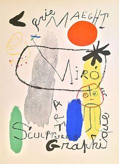 Joan Miro Galerie Maeght Poster Art Sculpture Graphique 1950 by Joan Miro Illustrations, Illustration Art, Joan Miro Paintings, Abstract Paintings, Art Exhibition Posters, Affordable Art, Art Plastique, Sculpture Art, Ceramic Sculptures
