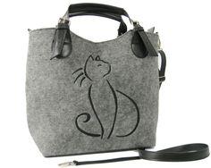 CAT HANDBAG,  Felted purse,  Felt  Cat bag,  Felted bag , Felted purse,  Felt satchel purse , Grey handbag,  Designer handbag by BPStudioDesign on Etsy