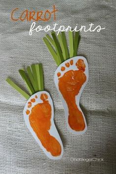 Spring Footprint Art – Bunny and Carrots - 15 Eggstra-Special Easter Crafts for Kids Easter Crafts For Toddlers, Easy Easter Crafts, Daycare Crafts, Easter Crafts For Kids, Baby Crafts, Crafts To Do, Family Crafts, Easter Ideas, Easter For Babies