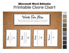 Printable Chore Chart- Work for Hire- Tickets Coupons Voucher Invitations in 8 Neutral Colors - DIY Microsoft Word Editable
