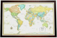 Rand mcnally m series map framed 50 x 32 walls pinterest map beautiful framed world map gumiabroncs Images