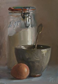 daily painting titled Flour, egg and sugar bowl - julian merrow-smith