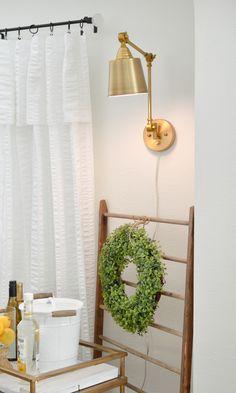 Easy to install, no hard wiring needed! Brass Plug In Wall Sconse Library Lighting Light Fixture #brassdecor #lighting #lightingideas #sconces #diylighting