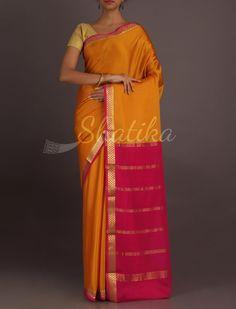 Vanaja Ocher Yellow With Pink Splendid Lace Border Pure #MysoreSilkSaree