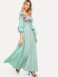 b44f4775e778 Flower Patch Puff Sleeve Surplice Wrap Dress -SheIn(Sheinside) Dress P
