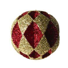 Red & Gold 30cm Diamond Cut Glitter Bauble