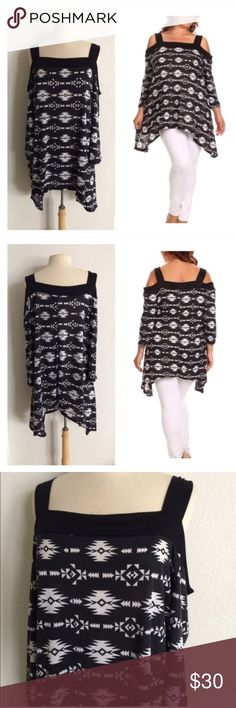 "(Plus) B/w cold shoulder top 96% rayon/ 4% spandex. Bust stretches beyond measurements. Slightly oversized- I am a 2x and the 1x fits me.  1x: Measures 33"" at shortest point, 43"" at longest, and has a 46"" bust.  2x: Measures 34"" at shortest point, 44"" at longest, and has a 47"" bust.  3x: Measures 35"" at shortest point, 45"" at longest, and has a 48"" bust.  Availability: 1x•2x•3x • 1•2•1 ⭐️This item is brand new without tags  🚫NO TRADES 💲Price is firm unless bundled 💰Ask about bundle…"