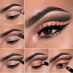 Shimmering orange and gold cut crease #makeup #tutorial #evatornadoblog #mycollection