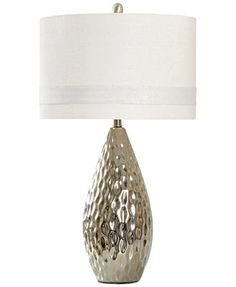 StyleCraft Silver-Finish Painted Ceramic Table Lamp - Macy's Home-