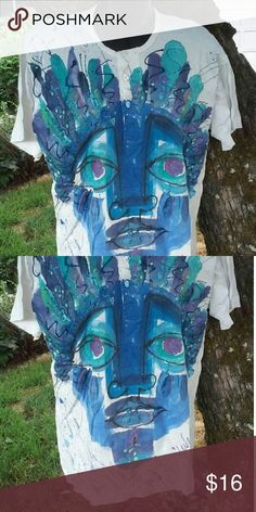 Hand Painted T Shirt Has minor discolorations. Good condition. #600 Tops Tees - Short Sleeve